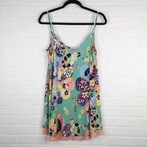 Judith March Dress Floral Spaghetti Straps Lined